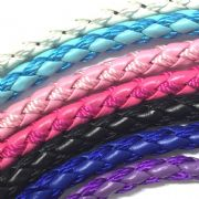 6mm synthetic leather and thread cord for jewellery making